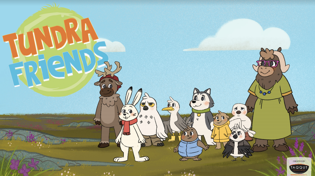 The characters of Tundra Friends standing together on the tundra with the show's logo in the top left