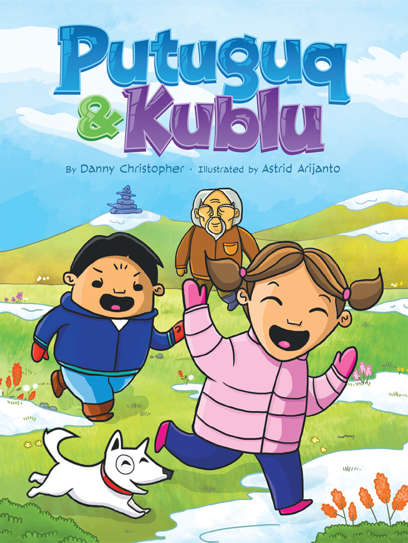 Book cover showing Putuguq and Kublu chasing each other with their grandpa in the background and title above them