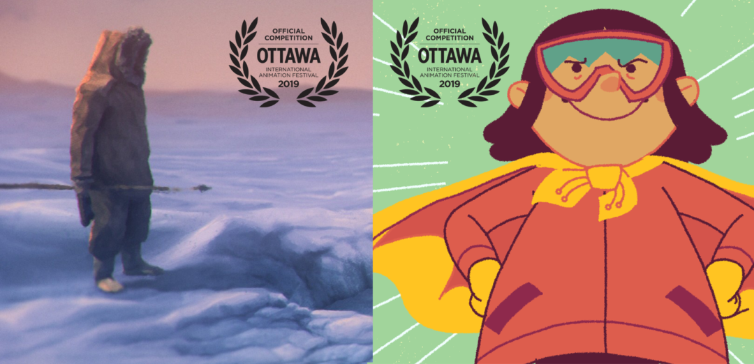 Scene from Giant Bear and What's My Superpower side by side with 2019 OIAF laurels