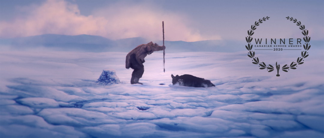 Scene from Giant Bear with the Canadian Screen Awards 2020 laurel