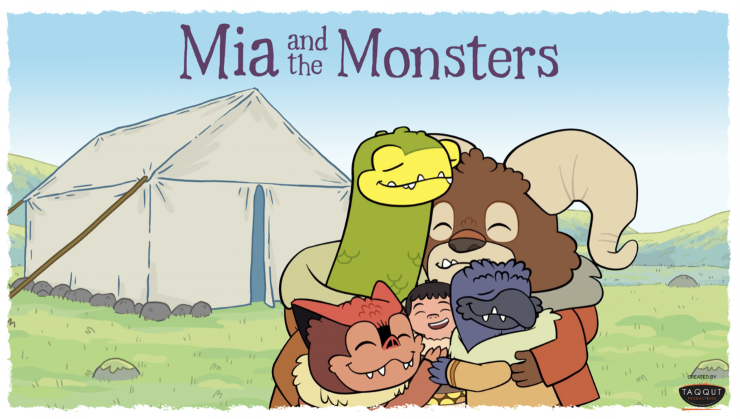 Mia and the Monsters characters hugging in front of a tent with the title above them