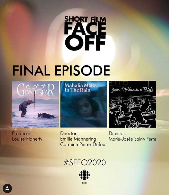 Short Film Face Off poster displaying the finalists (Giant Bear, Mahalia Melts in the Rain, and Your Mother is a Thief)