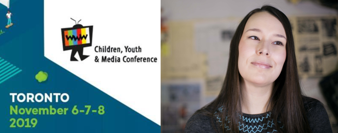 YMA conference poster (text reads: Children's Youth and Media conference, Toronto November 6-7-8 2019) next to Nadia Mike's headshot